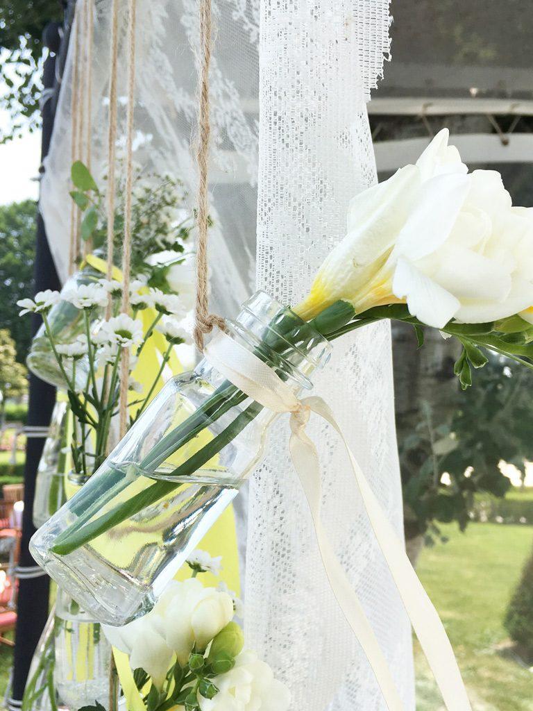 matrimonio tema limoni vasetti fiori appesi