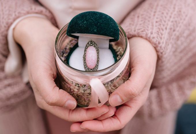 portafedi vintage lavanda anello