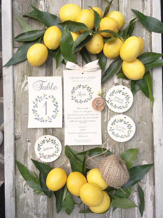 matrimonio tema limoni rustic chic partecipazioni