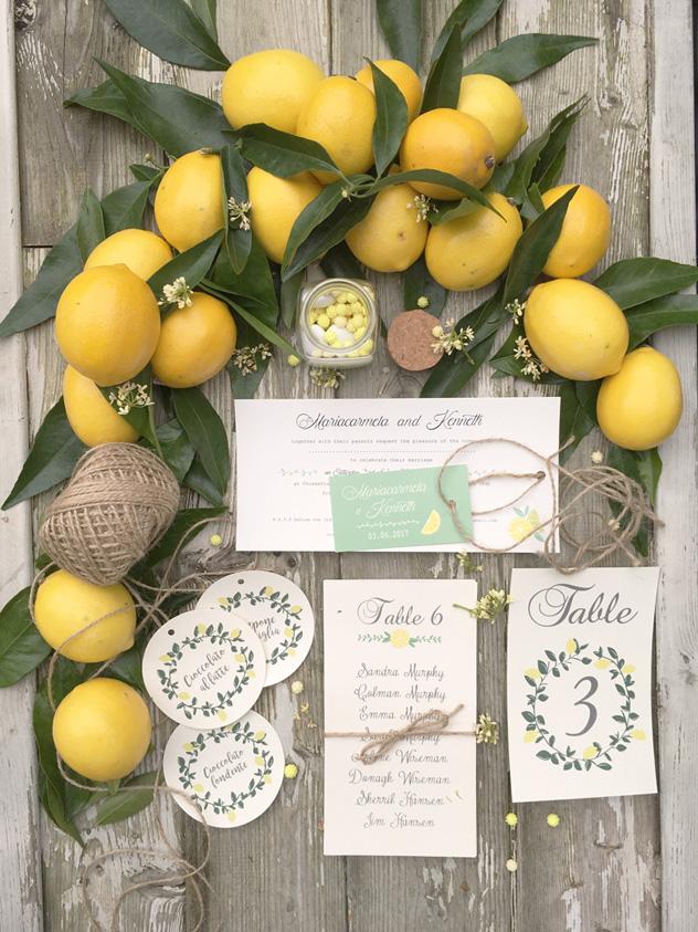 matrimonio tema limoni partecipazioni di matrimonio rustiche