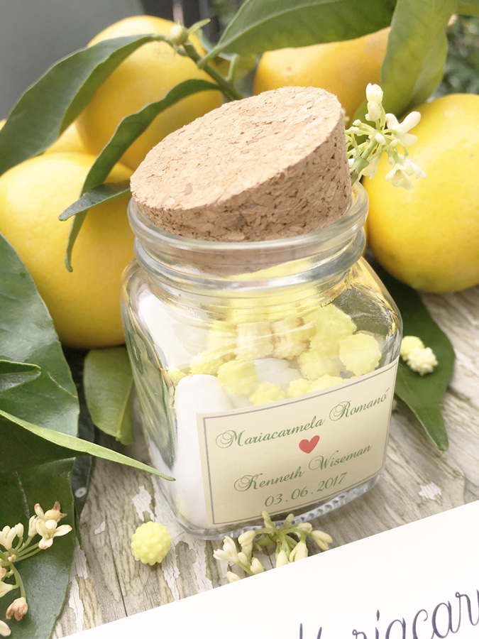 matrimonio tema limoni bomboniera con confetti gialli