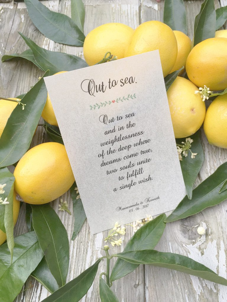 matrimonio tema limoni pergamena bomboniera