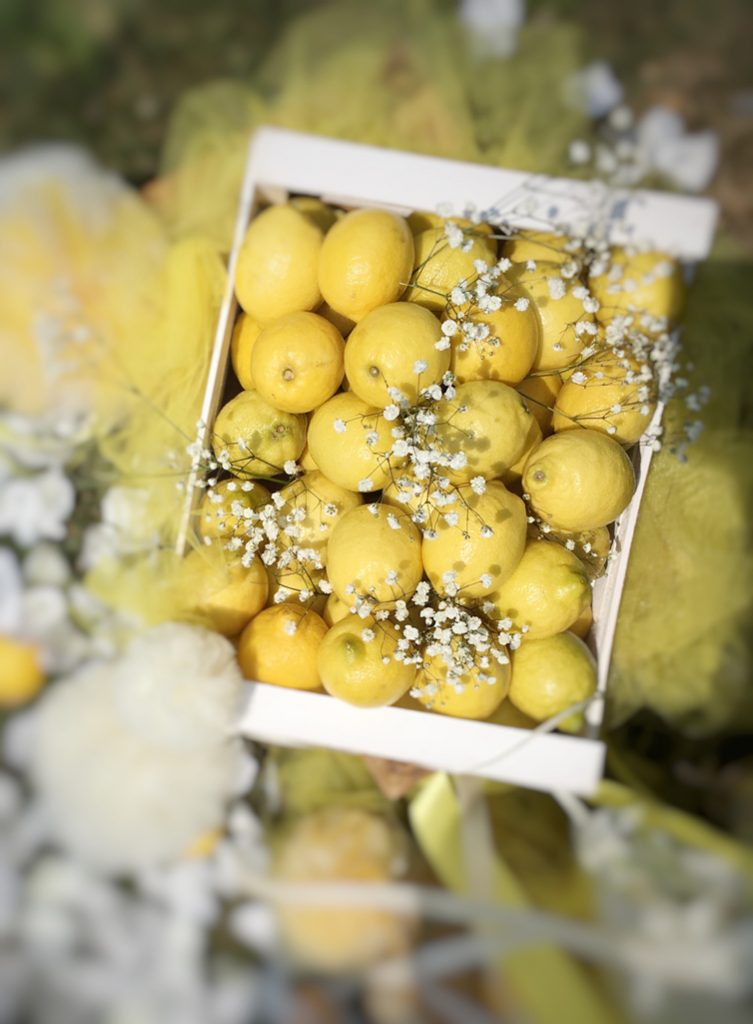 lemon wedding decorazione cassettina di limoni